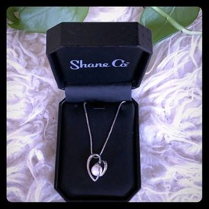 NEW shane co silver heart w/pearl necklace